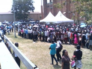 Job seekers submiting applications in Kampala